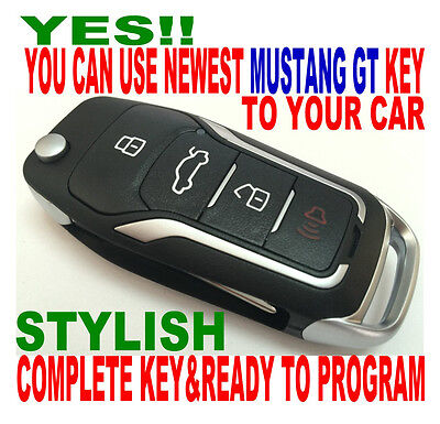 New Gt Style Flip Key Remote For 2007-10 Ford Mustang Clicker Chip Keyless Entry