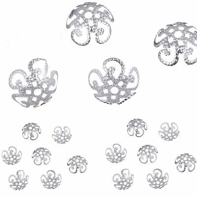 Wholesale Lots 200pcs Silver Gold Plated Metal Flower Bead Caps 10mm Findings