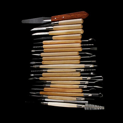 22pcs Stainless Steel and Wood Handle Clay Pottery Sculpture Useful Tools