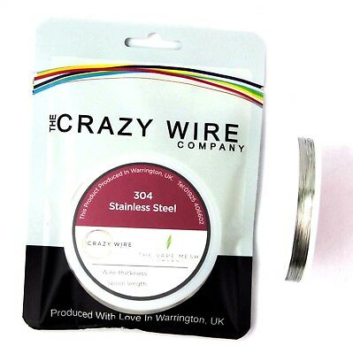 29 AWG (0.3mm) SS304 Stainless Steel Wire by The Crazy Wire Company