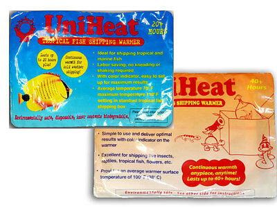 Uniheat heat pack fish transport shipping reptile warmer 20h 40h 20 40 hours hrs