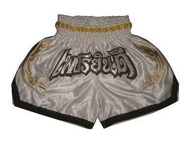 Kampfsport Thai Shorts, Muay Thai Hose, K1, MMA Pants Trunk aus Satin Weiß Gr.L