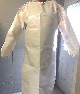 "White Chemical Apron, Long Sleeves W/ Ties, 2XL, 56"" Long, Elastic Cuffs (Mil)"
