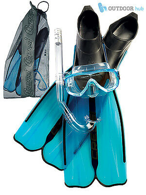 Cressi Adult Rondinella Full Foot Fins + Onda Frameless Mask + Dry Snorkel Set