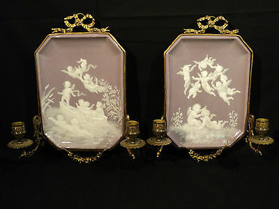 """RARE PAIR 19th. C. MINTON """"PATE-SUR-PATE"""" WALL MOUNTED PLAQUES w/ CANDELABRA"""