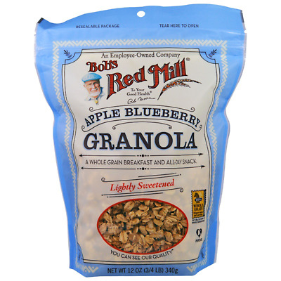 New Bob's Red Mill Granola Apple Blueberry Whole Grain No Fat Cereal Breakfast