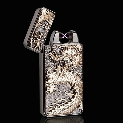 3D Black Dragon Electric Dual Arc Flameless USB Rechargeable Windproof Lighter