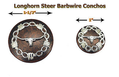 Conchos Lot Of 6 Western Longhorn Barbed Wire Rodeo Leather Craft 2 Sizes  New