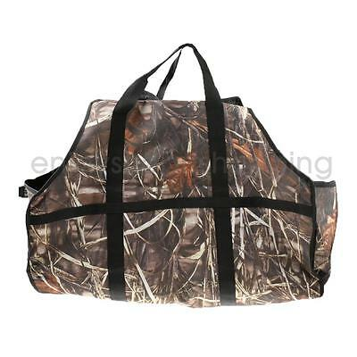 Large Camo Log Tote Bag Closed Ends Fire Wood Carrier Caddy Holder Storage