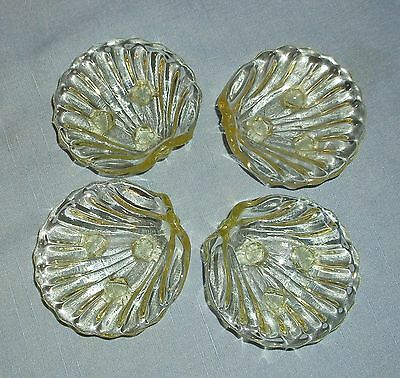 Set of 4 Vintage Cambridge Caprice Shell Ashtrays Nut Dishes 3 Footed Yellow