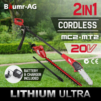 Baumr-AG 20V Lithium Pole Chainsaw Hedge Trimmer Electric Cordless Garden Tool