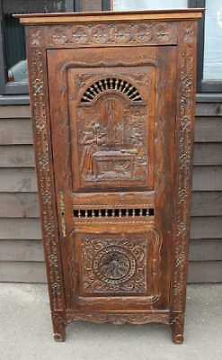1920s Highly Carved Oak Breton Bonnetierre Food cupboard  Larder.