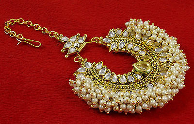 Indian Traditional Wedding Goldtone Maang Tikka Women Party Forehead Jewelry
