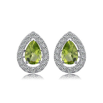 JewelryPalace 1ct Natural Peridot 925 Sterling Silver Stud Earrings Ladies