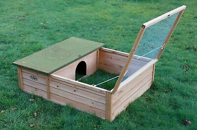 Hedgehog Tortoise Small Pet Wooden House Hide Shelter with Run Guinea Pig 107cm