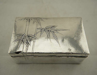 SIGNED Large Meiji Japanese Solid Sterling Silver Bamboo Relief Lidded Box
