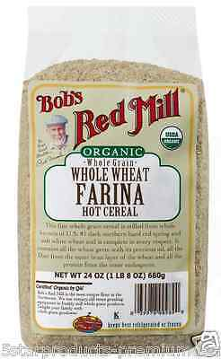 New Bob's Red Mill Organic Whole Wheat Grain Farina Hot Cereal Fiber Protein
