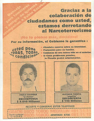 Pablo Escobar Colombias Most  Wanted Poster Flyer 8x10
