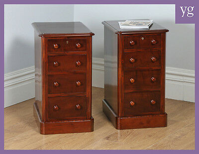 Pair Two Antique Victorian Flame Mahogany Bedside Chests Pot Cupboards Cabinets