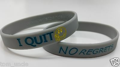 NO Regrets I Quit Smoking Awareness Wristband Support Cool Grey Bracelet vapor