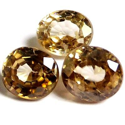 NATURAL AWESOME CHAMPAGNE ZIRCON LOOSE GEMSTONES (3 pieces) OVAL SHAPE