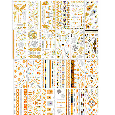24 Sheets Temporary Disposable Metallic Tattoo Gold Silver Black Flash Tattoos