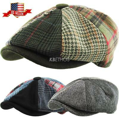 Men's Cabbie Newsboy and Ascot Plaid Patch Wool Blend Button Ivy Hat