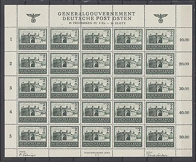 WWII Third Reich Occup. Generalgouvernement  Full Sheet Mi 113 MNH.Luxe