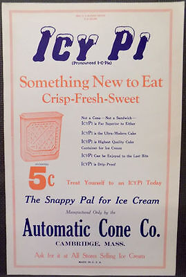 1920's Large Old Icy Pi Ice Cream Treat Paper Sign