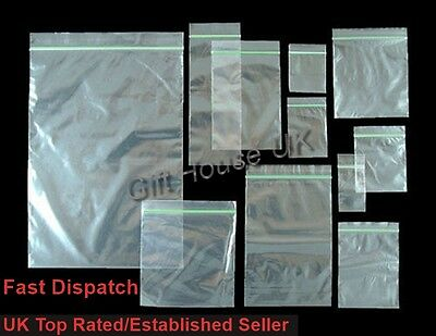 100 Small Plastic Baggy Clear Bags Grip Self Seal Resealable Zip Lock Plastic