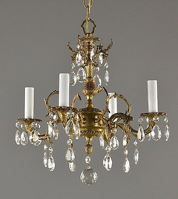 Spanish Brass & Crystal Chandelier c1950 Vintage Antique Restored Ornate