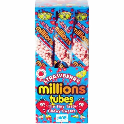 MILLIONS SWEETS STRAWBERRY FLAVOUR - Full Box Of 12 Tubes