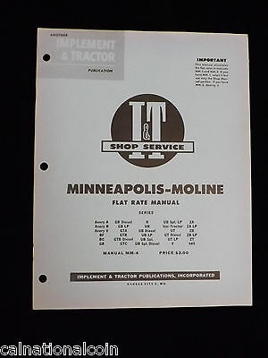 1956 I & T Shop Service Minneapolis- Moline Flat Rate Manual Series-28 pages