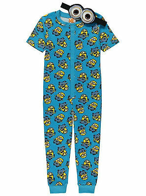 Boys Onesie Pyjamas Despicable Me Minions 2-14 Years Eye Mask Short Sleeved