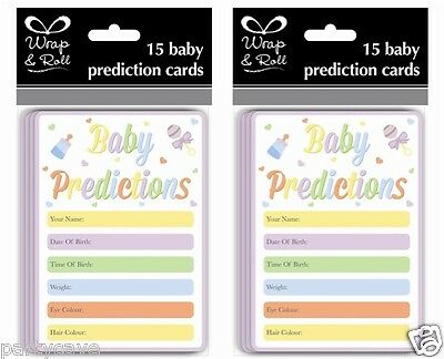 15 Pack Baby Shower Party Unisex Neutral Girl Boy Prediction Cards Fun Games