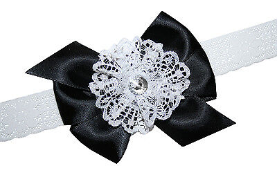 New Baby Girls Vintage Satin & White Lace Boutique Hair Bow Stretch Headband USA