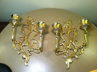 Antique HEAVY Brass Wall Sconce Pair-Hollywood Regency-2 Arms Each