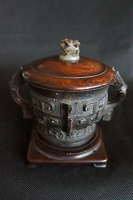 15~16th MING DYNASTIES Elaborately Carved Bronze Censer Jade Decorated Wood Cap