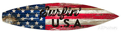 Surfin Usa Surfboard Plaque Wood Sign - 36x8