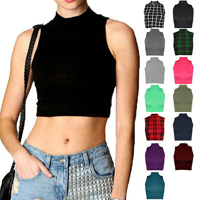Womens Ladies Sleeveless Polo Turtle High Neck Crop Top Short Stretch Plain