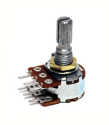 5pc Dual Potentiometer Variable Resistor 16mm Log A50KΩ PCB Thru Pin A 50KΩ x2
