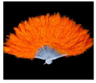 1PCS Halloween Party Dance Orange Feather Fan #92819