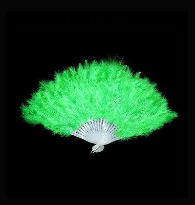 1PCS Halloween Party Dance Green Feather Fan #92822