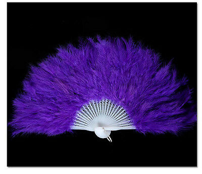 1PCS Halloween Party Dance Royal Blue Feather Fan #92825