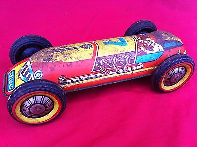 Old Antique Vintage 1930's TIN Race Car Toy Indy Roadster #7 Hot Rod USA