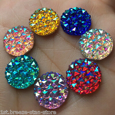 DIY 30pcs 12mm Round AB Resin flatback Scrapbooking for phone Crafts