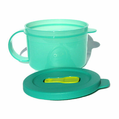 Tupperware Crystalwave Ezywave SOUP MUG Crystal in Green and Yellow 470ml NEW