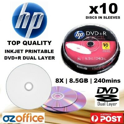 PREMIUM 10 x HP DVD+R DL 8.5GB Dual Layer 8X Blank DVD White Inkjet Printable
