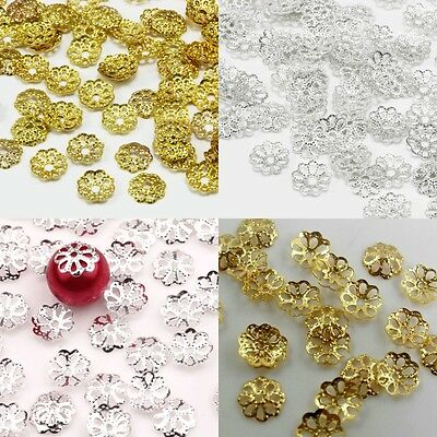 500pcs Silver Gold Plated Metal Filigree Flower Bead Caps Jewelry Findings 6mm
