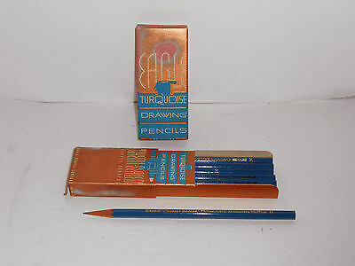 12 Vintage Pre-sharpened Eagle Turquoise H Drawing Pencils IN BOX FREE SHIP